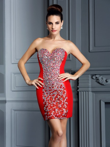 Sheath Sweetheart Embroidery Short Taffeta Homecoming Dresses
