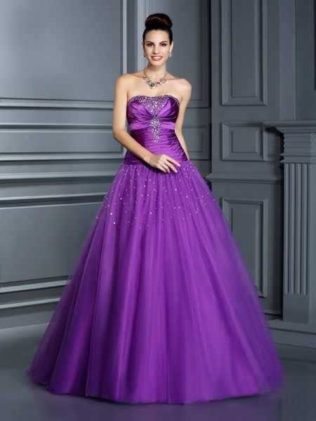 Strapless Taffeta Ball Gown Quinceanera Prom Dresses