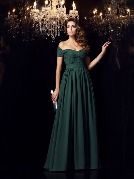 A-Line Off-the-Shoulder Ruched Chiffon Prom Dresses