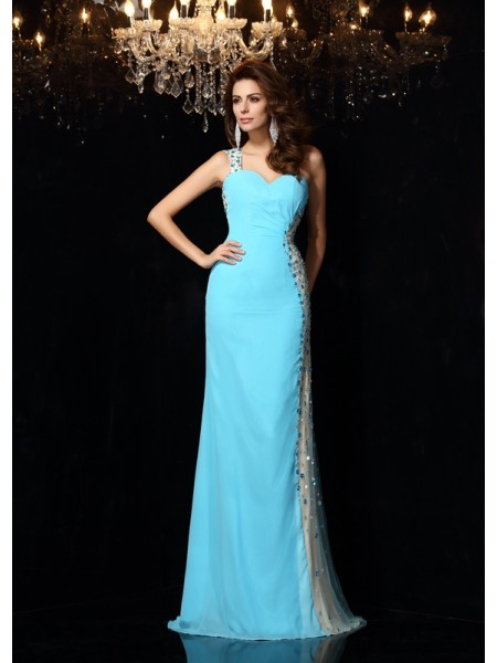 Sheath One-Shoulder Rhinestone Chiffon Prom Dresses