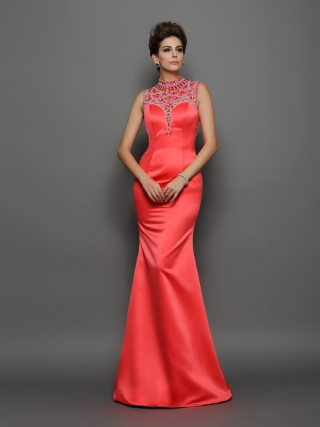 Mermaid High Neck Beading Satin Prom Dresses