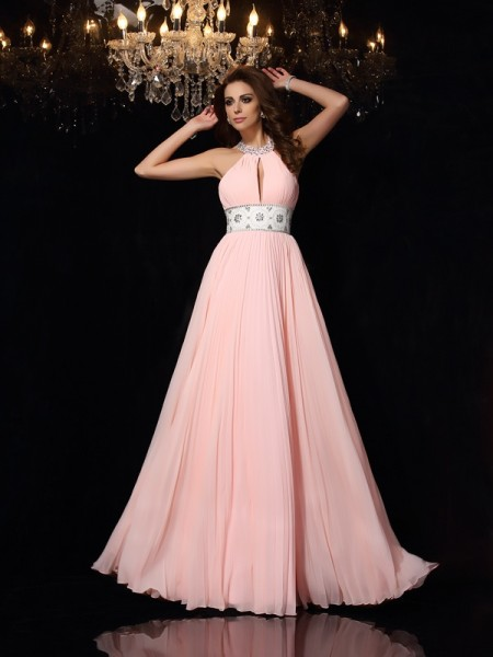 A-Line High Neck Pleats Chiffon Prom Dresses