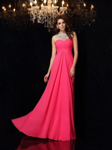 A-Line High Neck Ruched Chiffon Prom Dresses