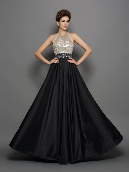 A-Line High Neck Sequin Taffeta Prom Dresses