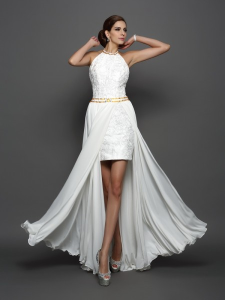 A-Line High Neck Lace Chiffon Wedding Prom Dresses