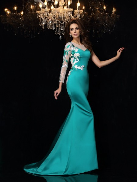 Mermaid Scoop Beading Satin Prom Dresses