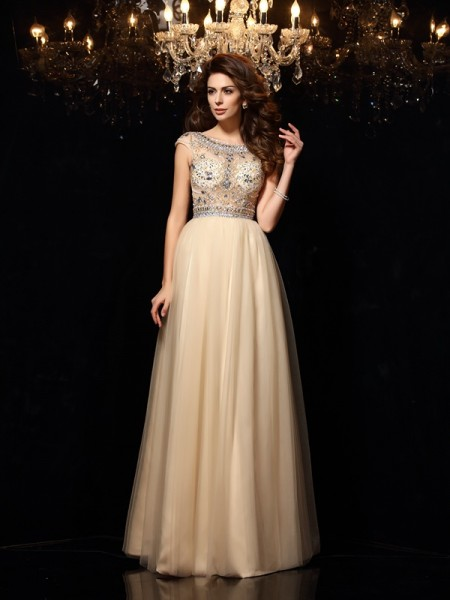 A-Line Scoop Beading Net Prom Dresses