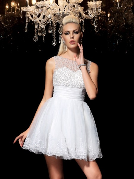 A-Line Sheer Neck Beading Short Elastic Woven Satin Homecoming Dresses