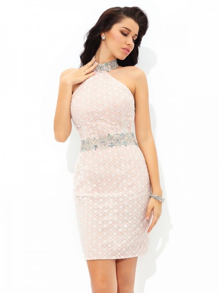 Sheath Halter Beading Short Satin Homecoming Dresses