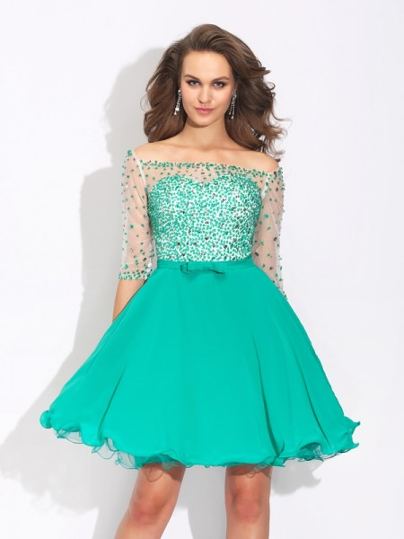 A-Line Off-the-Shoulder Beading Short Chiffon Dresses