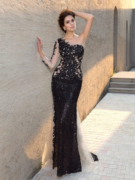 Sheath One-Shoulder Sequin Lace Prom Dresses