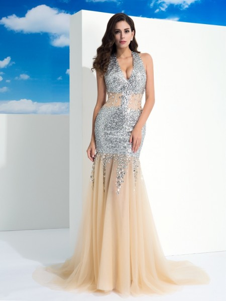 Sheath Halter Paillette Net Prom Dresses