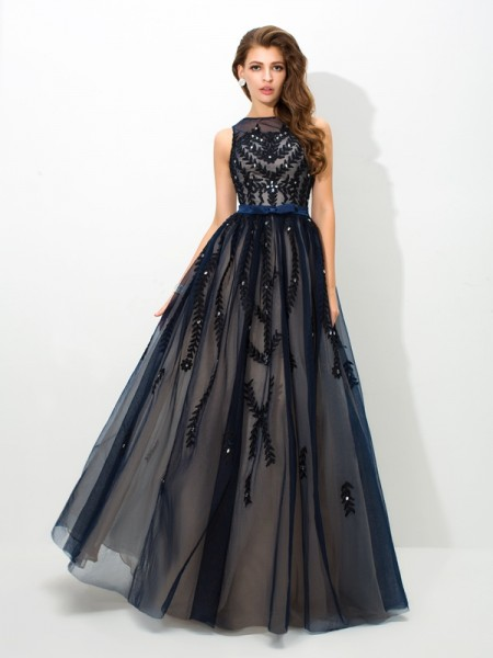 A-Line Sheer Neck Applique Tulle Prom Dresses