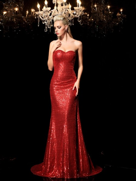 Sheath Sweetheart Sequin Sequins Prom Dresses