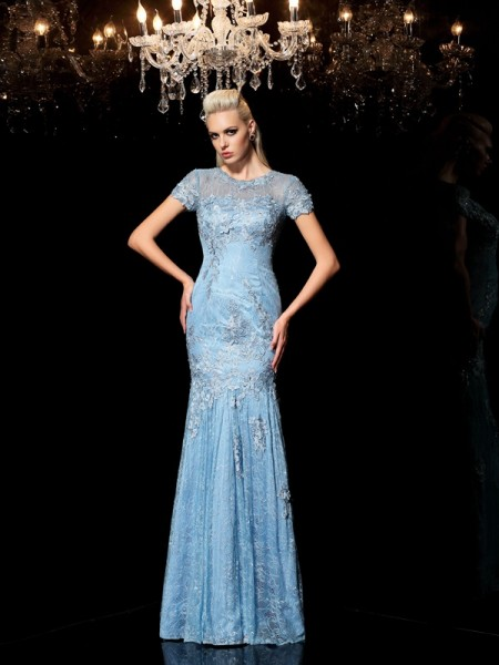 Sheath Sheer Neck Applique Lace Prom Dresses