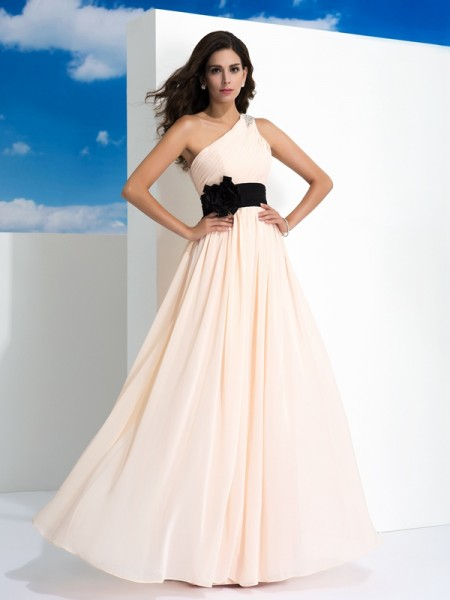 A-Line One-Shoulder Sash/Ribbon/Belt Chiffon Prom Dresses