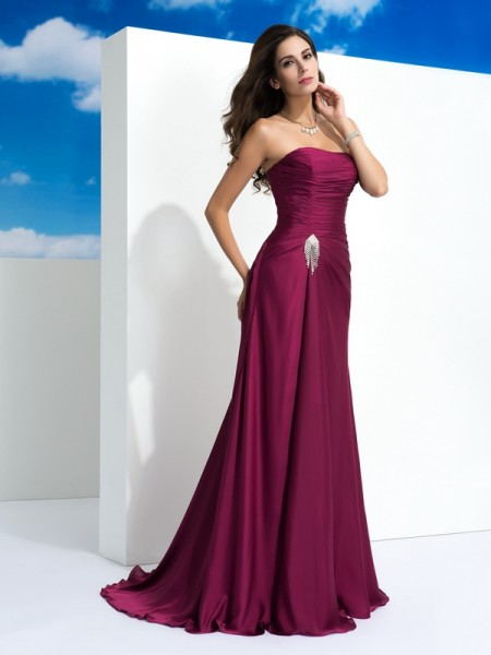 A-Line Strapless Pleats Satin Chiffon Prom Dresses