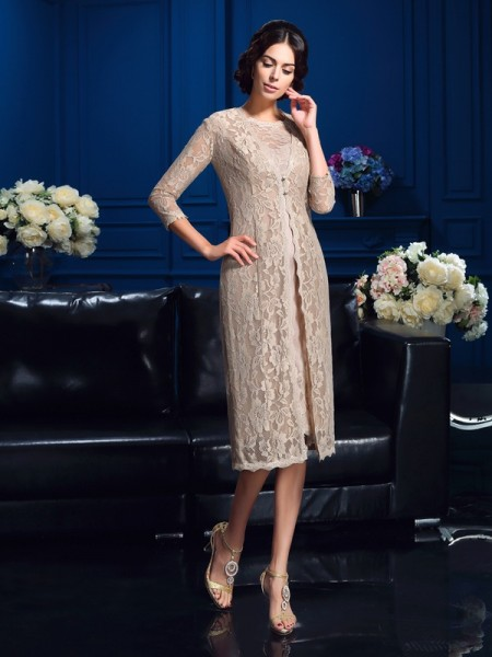 Sheath Scoop Lace Short Taffeta Mother of the Bride Dresses