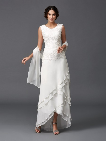 A-Line Scoop Lace Chiffon Mother of the Bride Dresses