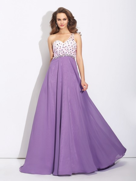 A-Line One-Shoulder Crystal Chiffon Prom Dresses