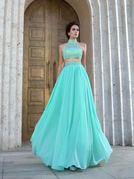 A-Line High Neck Beading Chiffon Two Piece Prom Dresses