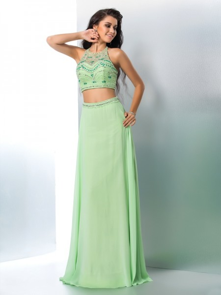 A-Line Halter Beading Chiffon Two Piece Prom Dresses