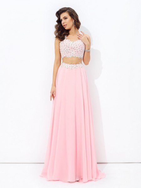 A-Line Straps Applique Chiffon Two Piece Prom Dresses