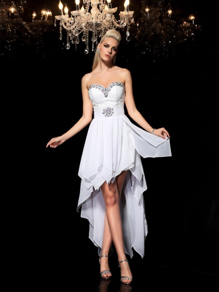 A-Line Sweetheart Beading High Low Chiffon Homecoming Dresses