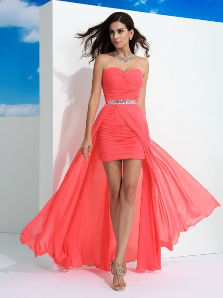 Sheath Sweetheart Pleats Chiffon Prom Dresses