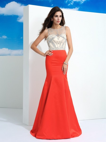 Mermaid Sheer Neck Beading Satin Prom Dresses
