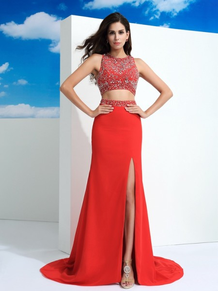 Sheath Scoop Beading Chiffon Two Piece Prom Dresses