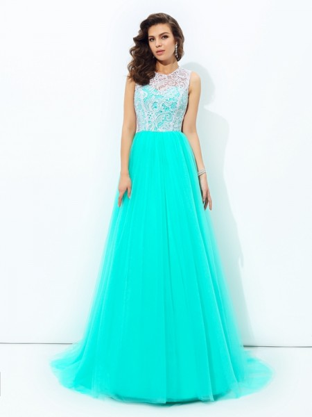 A-Line Scoop Lace Net Prom Dresses