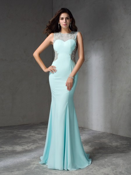 Mermaid Jewel Beading Chiffon Prom Dresses
