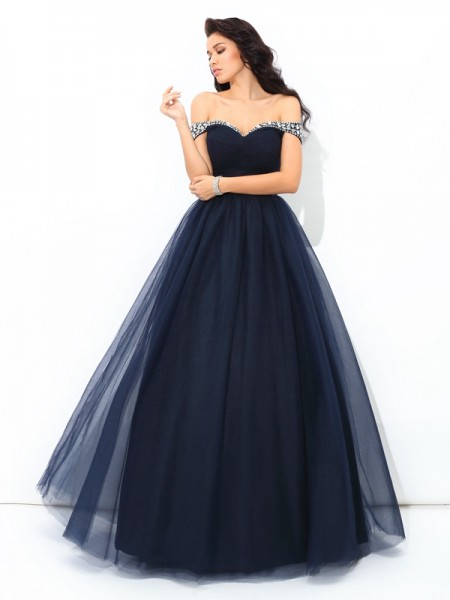 Off-the-Shoulder Beading Net Ball Gown Quinceanera Prom Dresses