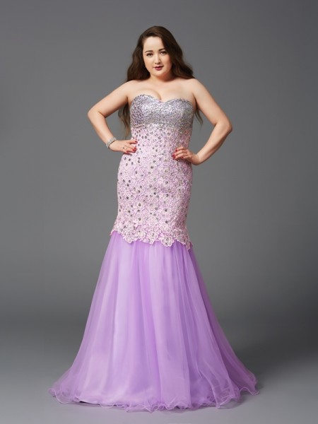 Mermaid Sweetheart Beading Net Plus Size Prom Dresses