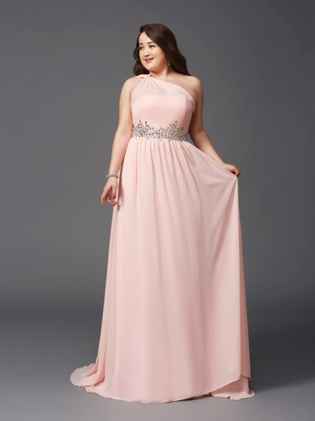 A-Line One-Shoulder Rhinestone Chiffon Plus Size Prom Dresses