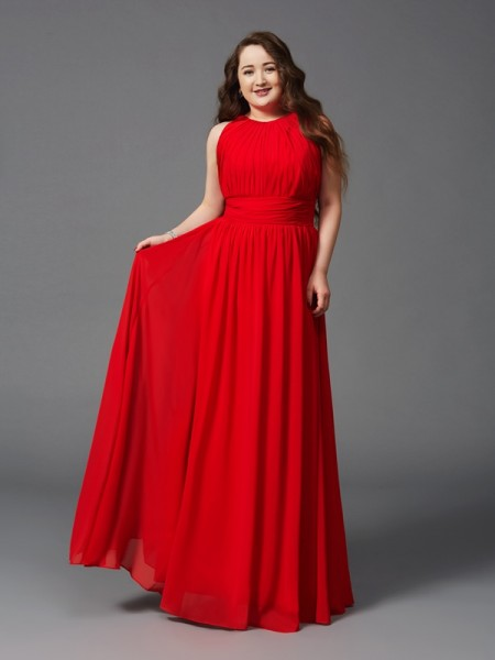 A-Line Jewel Ruched Chiffon Plus Size Prom Dresses