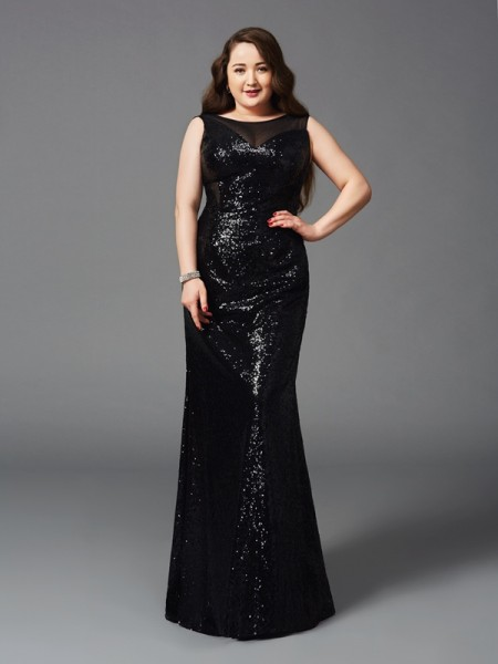Sheath Scoop Sequins Plus Size Prom Dresses
