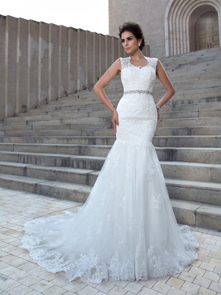 Mermaid V-neck Applique Lace Wedding Dresses