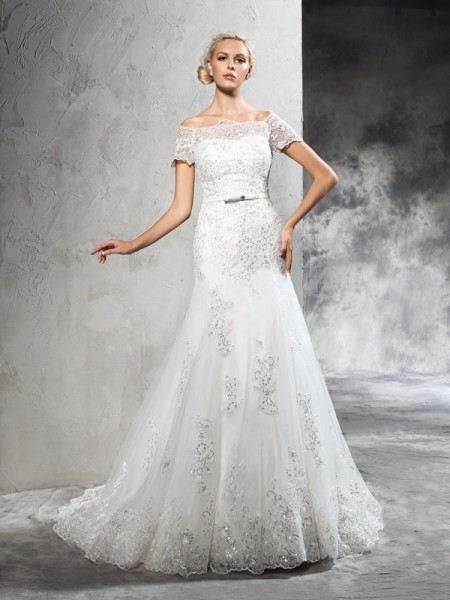 Sheath Off-the-Shoulder Applique Net Wedding Dresses