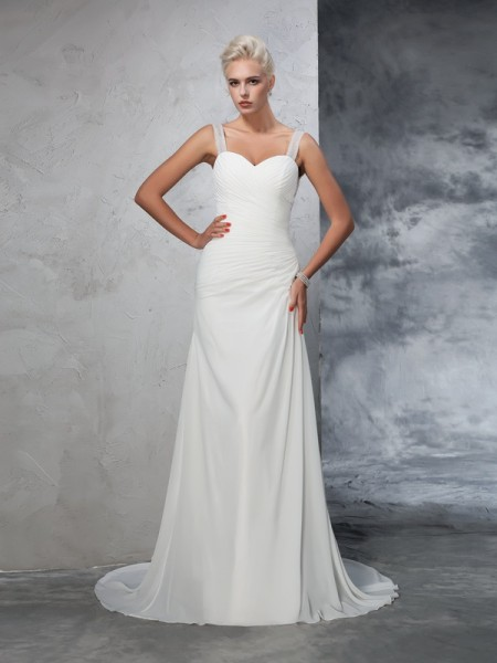 Mermaid Straps Ruched Chiffon Wedding Dresses