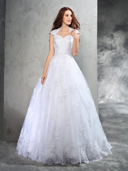 Sweetheart Lace Organza Ball Gown Wedding Dresses