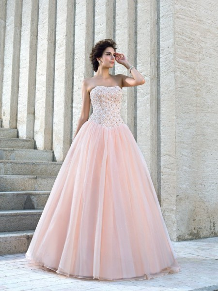Strapless Beading Satin Ball Gown Wedding Dresses
