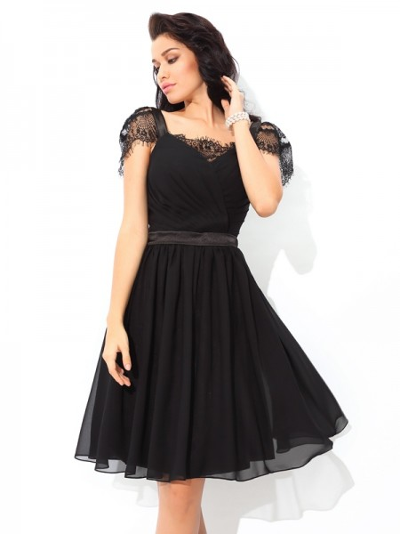 A-Line Straps Pleats Short Chiffon Homecoming Dresses