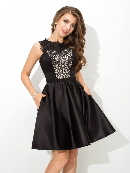 A-Line Scoop Lace Short Satin Homecoming Dresses