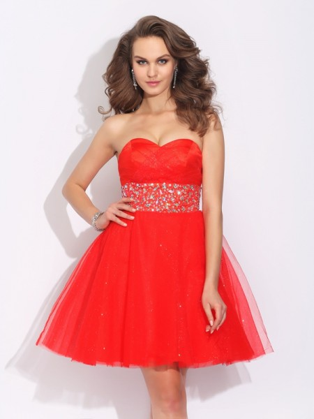 A-Line Sweetheart Rhinestone Short Net Homecoming Dresses
