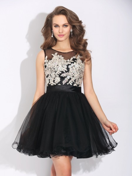 A-Line Scoop Ruffles Short Net Dresses