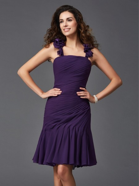 Sheath Straps Ruched Short Chiffon Homecoming Dresses