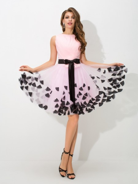 A-Line High Neck Bowknot Short Net Homecoming Dresses
