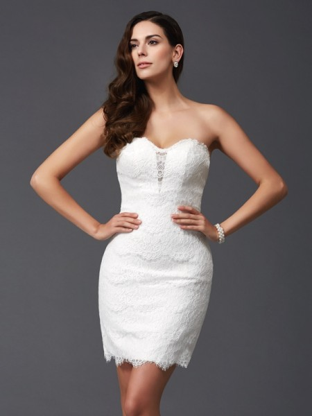 Sheath Sweetheart Lace Short Lace Dresses